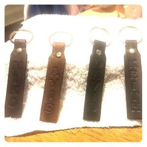 100% Leather Name Keychains